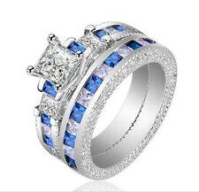 2pcs Women Fashion 925 Silver White & Blue Sapphire Wedding Bridal Ring SZ:9