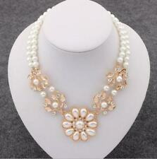 Large White Pearls Flower Necklace Pendant Collar Chain Fashion Women Jewellery
