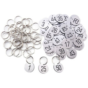 ABS Key Tags With or No Ring Numbered 1-200 ID Tags Disc for Organizing Sorting