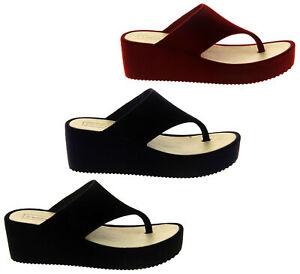 Dunlop Womens Ladies Velvet Sandals Toe Post Wedge Flip Flops Size UK 4 5 6 7 8
