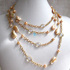 """75"""" 7-15mm Peach Pink Coin Freshwater Pearl Clear Crystal Chain Necklace"""