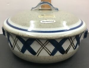 Vtg Otagiri Hand Crafted 1.5 Qt Casserole with lid  Blue White Spatterware Made in Japan 1970/'s