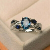 925 Silver Filled Wedding Rings Women Aquamarine Ring Jewelry Gift Size 6-10