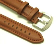 22mm Replacement Brown Leather Watch Strap Brushed Buckle - Citizen 22 Men's