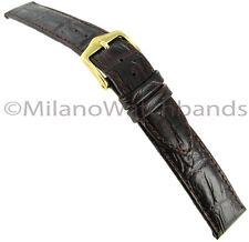 14mm Hirsch Duke Alligator Grain Genuine Leather Ladies Dark Brown Watch Band