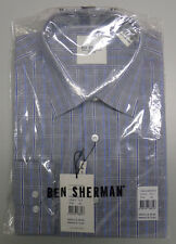 Ben Sherman WESTMINSTER Size 42 Grey Blue Check Long Sleeve Tailored Shirt $90