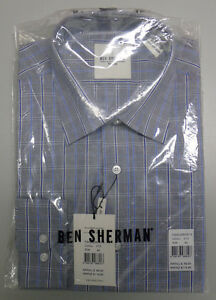 Ben Sherman WESTMINSTER Size 39 Grey Blue Check Long Sleeve Tailored Shirt $90
