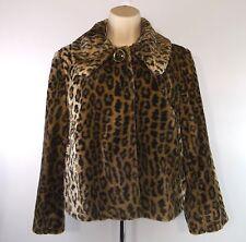 Laura Ashley Petite Faux Fur Animal Print Jacket One Button Size PM