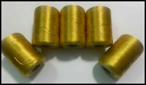 5 X Gold Heavy Silk Art Rayon Sewing Machine Embroidery Best Quality Thread | UK