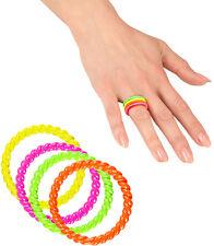 80er Neon Ring-Set bunt NEU - Zubehör Accessoire Karneval Fasching