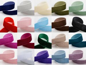 Velvet Ribbon 9mm 16mm 25mm 20 Colours