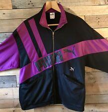 Vintage Retro Puma Sport Logo Tracksuit Zip Up Top Jacket Black Purple | Size M