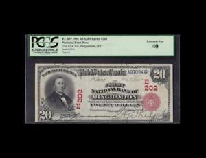 RARE 1902 $20 RED SEAL NATIONAL NEW YORK PCGS EXTREMELY FINE 40
