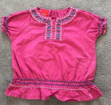 Esprit Mini Short Sleeve Top Size 2-3 Years( 92/98cm) Pink Embroidered Girls