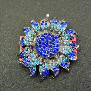 Woman's Shiny Blue Crystal Flower Betsey Johnson Charm Brooch Pin Gift