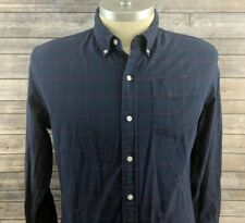 Bonobos Mens Check Slim Fit Blue Button Down Casual Shirt Size XL