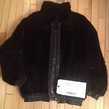 Mens Black Female Mink Fur Reversible Leather Bomber Jacket Coat