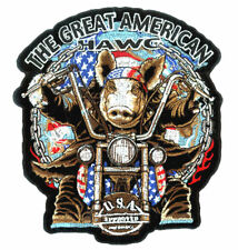 USA HAWG PATCH P2950 biker jacket PIG iron on sew BIKE men women patches new
