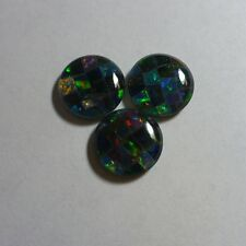 Opal – Jet Backed - Gilson Round Mosaic Triplet – 10mm - 1 Piece