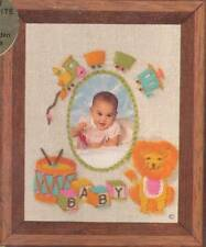 Vtg Jiffy Stitchery Photo Frame-Baby Lion #881 Embroidery Kit Barbara Jennings
