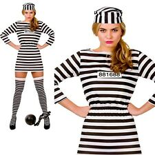 Adults Prisoner Convict Ladies Fancy Dress Costume Hen Night Outfit 6/24