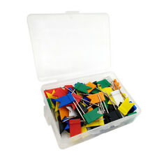 100pcs Map Flag Shaped Colorful Push Pins Steel Straight With Plastic Box Notice