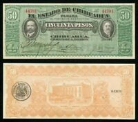 Mexico 1914 Currency Series F State Chihuahua Nice 50 Pesos Banknote P#S538a CU