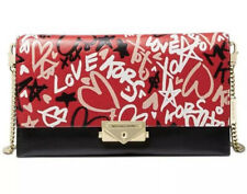 Michael Kors Cece Large Chain Clutch Crossbody Leather Red Black Multi $248