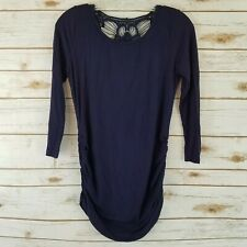 Full Moon Womens Size S Maternity Top Back Lace Inset Long Sleeves Black