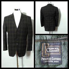Curlees Clothes Vintage 1950's Blazer Men's Sm. Espresso, Plaid Inv#S9503