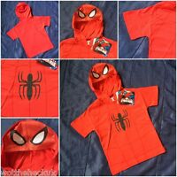 Boys Kids Official Marvel Spiderman Hooded T-Shirt Mesh Face Hoodie Top