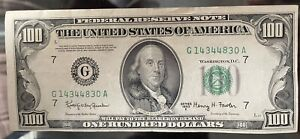1950 E $100 CHICAGO ILLINOIS CURRENCY NOTE Free Shipping