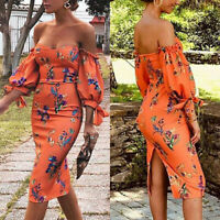 Women's Floral Bodycon Dress Summer Off Shoulder Sexy Midi Dresses Evening Party