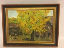 H Mees Painting Country Barn Forest Scene 16 5/8x12 5/8