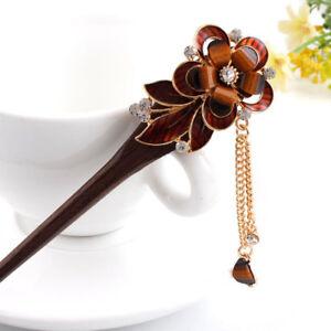 Vintage Women's Flower Wooden Hair Stick Hairpin Crystal Hair Pins Accessories