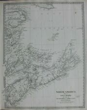NORTH AMERICA I, NOVA SCOTIA, PRINCE EDWARD ISL. original antique map, SDUK 1844