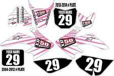 2004-2016 HONDA CRF 50 Graphics Kit Custom Number Plates Pink/Wht Lines XR50.com