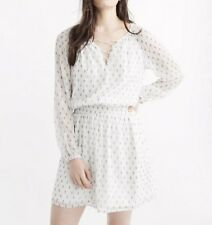 Abercrombie Fitch Lace Up Peasant Dress Size M White Elastic Waist Long Sleeves