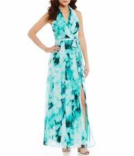 London Times Ikat-Print Faux-Wrap Light Chiffon Maxi Dress Size 12 New with Tags
