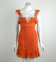 Free People Cross My Heart Crochet Mini Dress Floral Lace Orange X-Small New