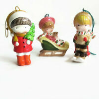 "3 Ceramic Joan Walsh Anglund Ornament 2.5"" Girl Sled Skier Christmas Vintage 70s"