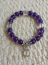 8mm Purple  Amethyst bead  Flex Bracelet + Velvet Pouch