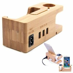 3 Ports USB Wooden Charging Stand Dock Station Hub For iPhone iWatch Series 4 5
