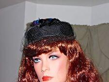 Vintage Women's Hat 1940' Feather Pillbox Open Crown Black Velvet Hat With Veil