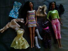 2 Mattel Barbie Fashionistas Aa Black Nikki Dolls W/clothes Lot Play Or Ooak Nr