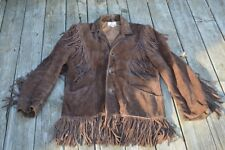 Vintage Western Suede Leather Fringed Jacket / Hippie Coat Sprung Men's size 40