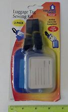 ID LUGGAGE TAGS Set of 2 with slide out Sewing Kit Blue and Opaque White NEW