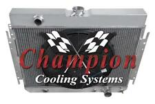 """2 Row Cold Champion Radiator W/ 16"""" Fan for 1966 1967 1968 Chevy Caprice #EC289"""
