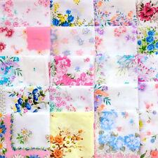 20 /30/35Pcs Ladies Child Cotton Flower Vintage Handkerchiefs Hankies -AU