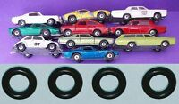 4 NEW REPLACEMENT TYRES to suit LESNEY MATCHBOX CARS WITH SILVER HUBS Tires